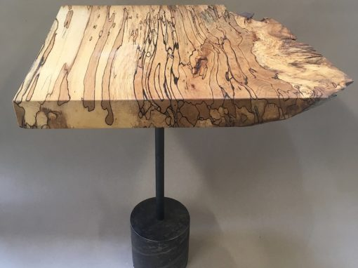 Side table of truffle-beech and flamed iron